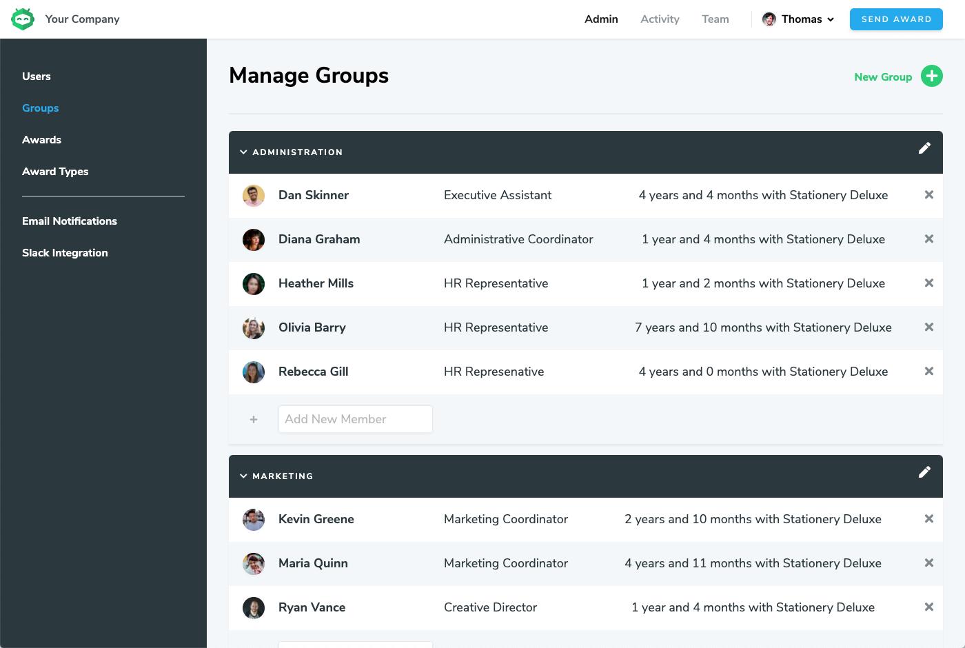 Admin Create Groups Screenshot