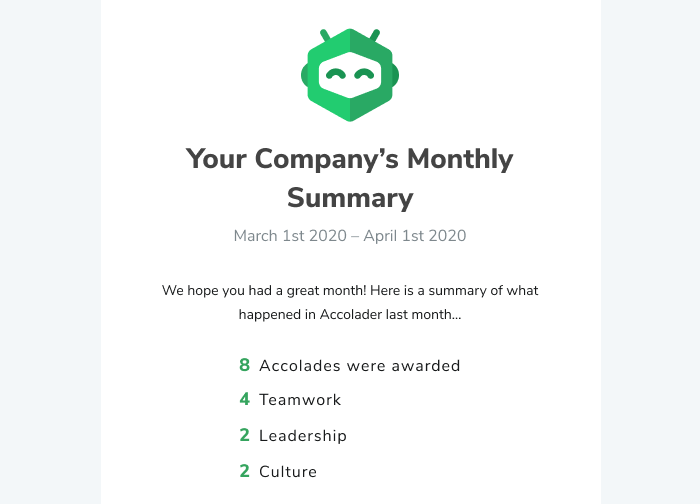 Monthly Email Digest Screenshot