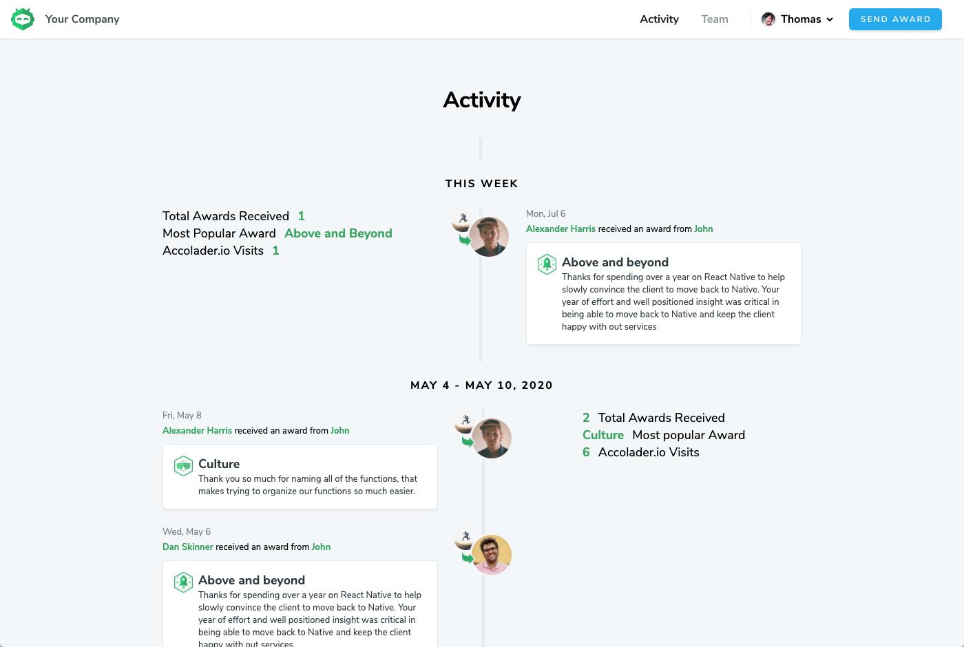 Activity Page Screenshot
