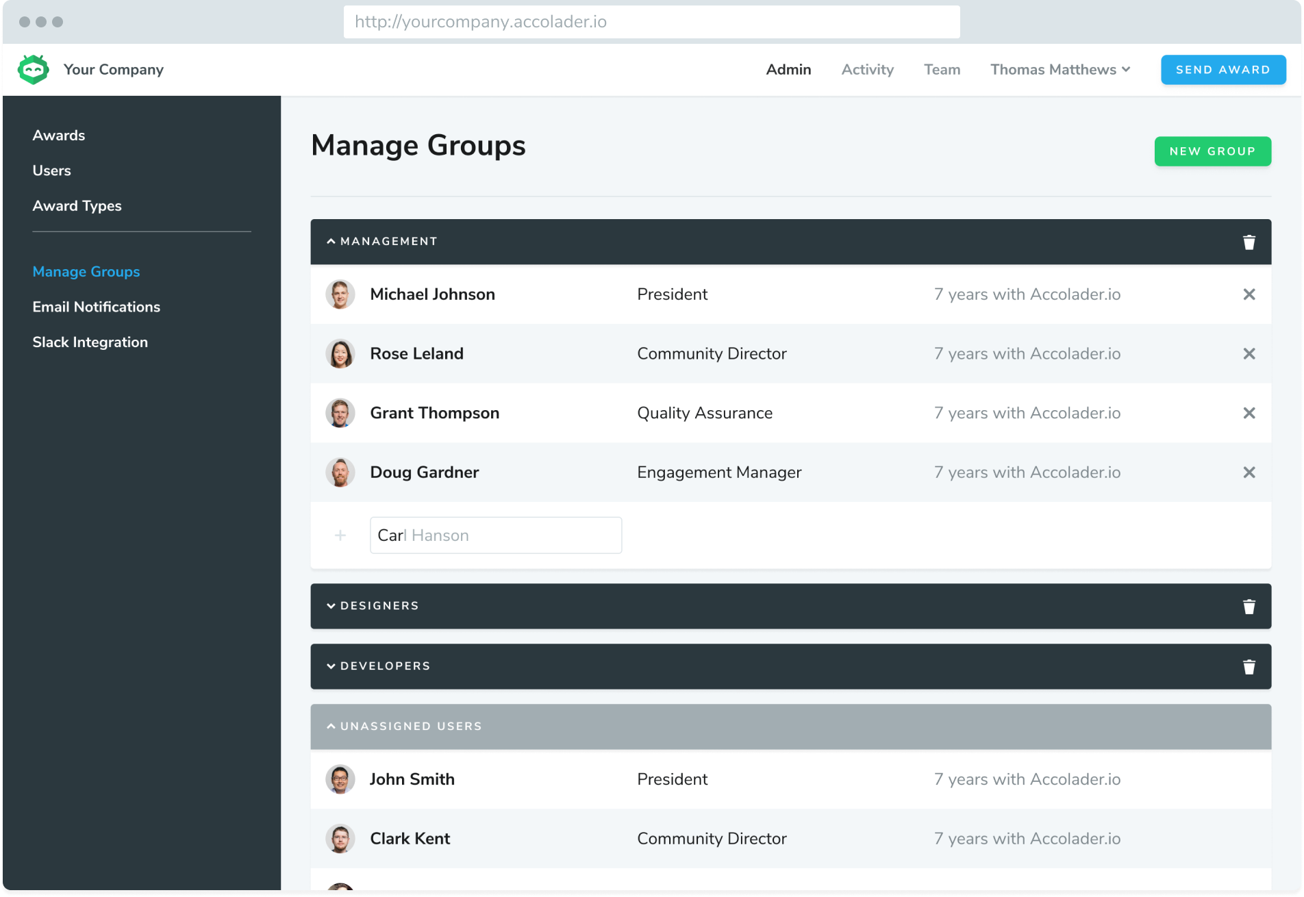 Admin Manage Groups Screenshot